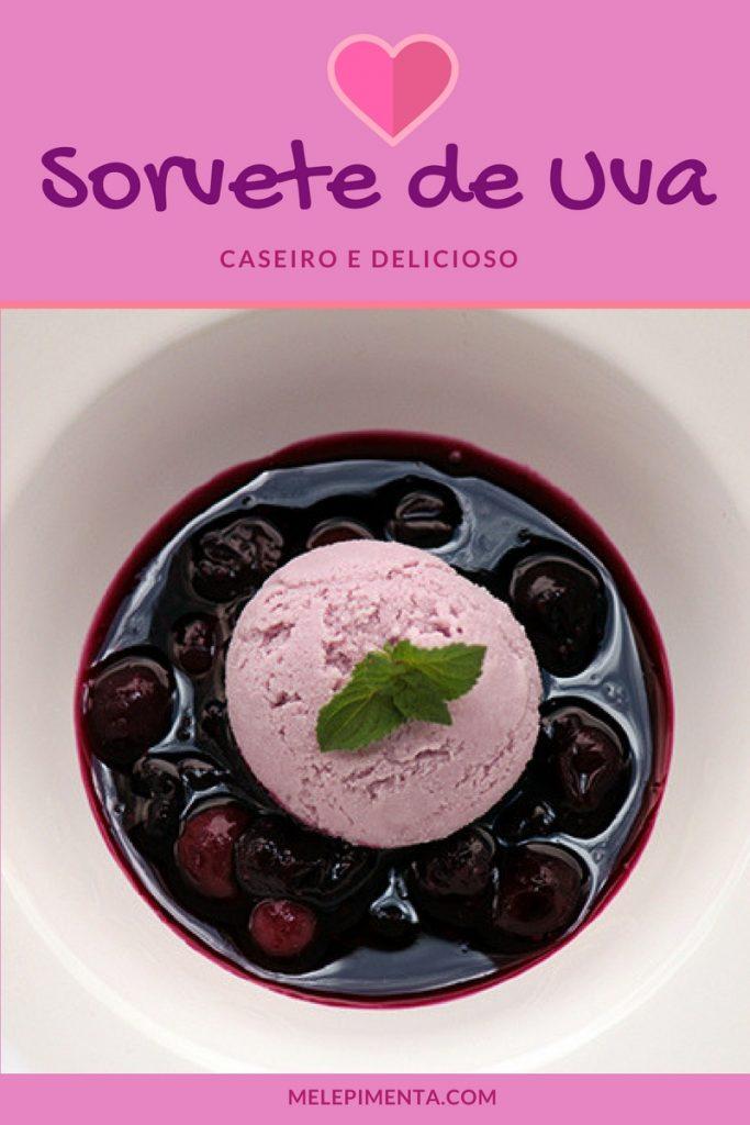 Sorvete caseiro de uva - Confira a receita desse cremoso sorvete de uva que é servido acompanhado de uma calda feita com uva cozida. Experimente essa receita deliciosa.