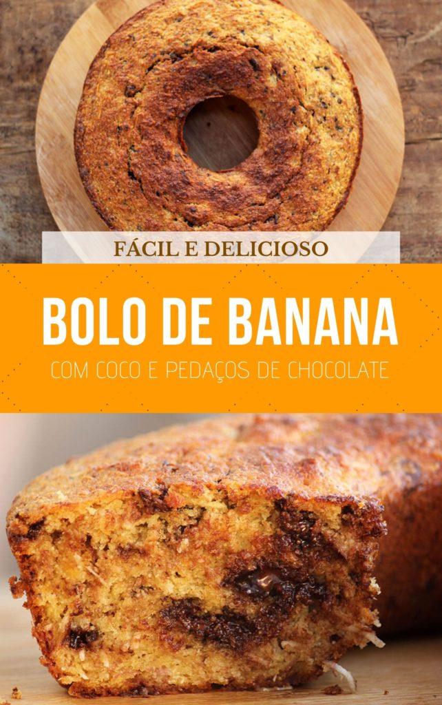 Receita fácil de Bolo de banana com coco e chocolate