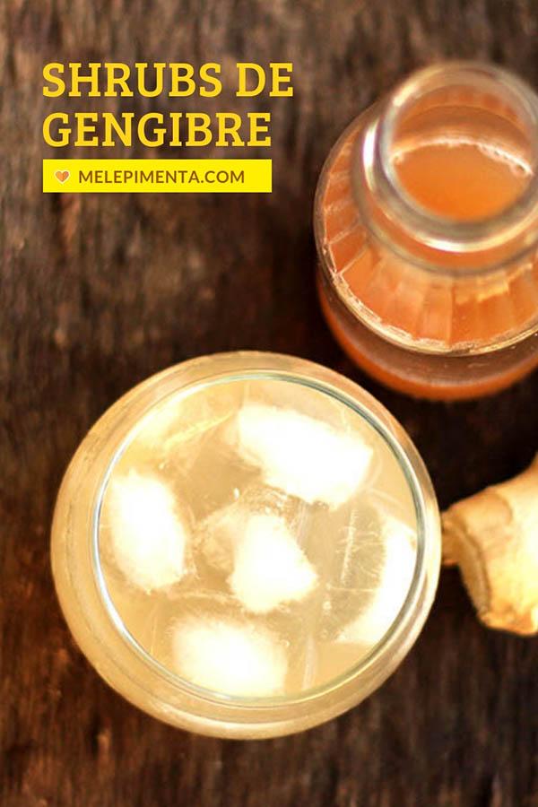 Shrubs de gengibre - Receita de uma deliciosa bebida à base de vinagre para o preparo de drinks caseiros com ou sem álcool. Shrub combina com gin, com água com gás, tônica e muito mais. Faça essa bebida com gengibre na sua casa.