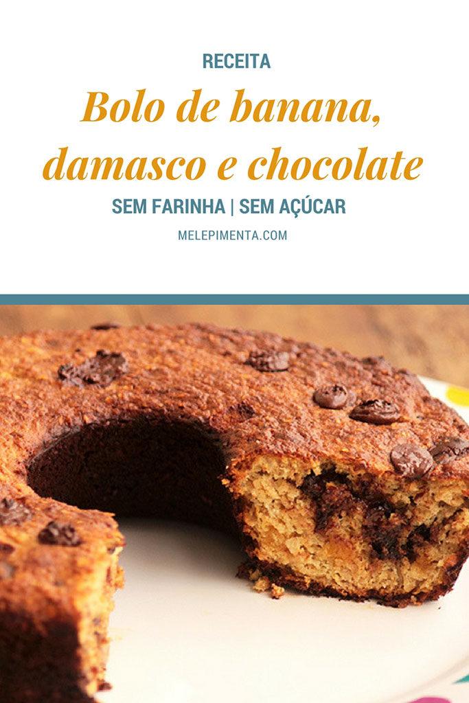 Bolo saudável de banana com damasco e chocolate, sem farinha e sem açúcar