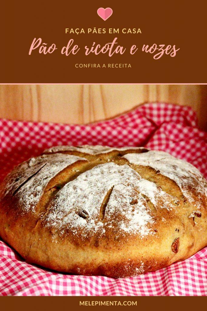 Pão de ricota com nozes - Faça um delicioso pão caseiro com o sabor da ricota e a textura das nozes. A receita é fácil e o resultado impressiona. Confira a receita desse pão e prepare em casa.