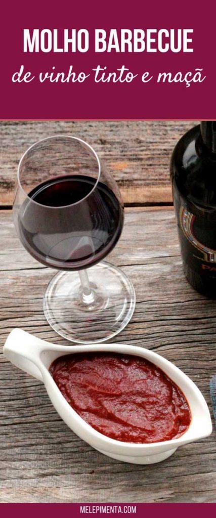 Molho de vinho e maçã para carnes - Um delicioso molho barbecue feito com vinho tinto, maça e especiarias. Esse molho para carnes vai deixar seis assados com uma sabor especial e uma cor incrível. Esse molho fica ótimo para suas carnes. Receita para a ceia de Ano novo Réveillon.