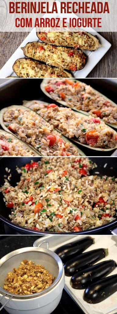 Berinjela recheada com arroz - Uma receita vegetariana, fácil e simplesmente deliciosa para você fazer em casa. Feita com berinjela, sobras de arroz, tomate, temperos e iogurte, essa berinjela recheada vai surpreender você.