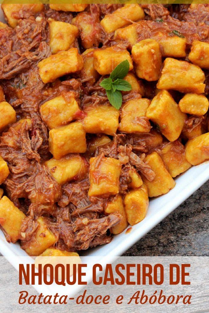 Nhoque de batata-doce com abóbora - Uma receita deliciosa e saudável para você preparar em casa. Escolha o seu molho preferido para servir com esse nhoque colorido e muito nutritivo.