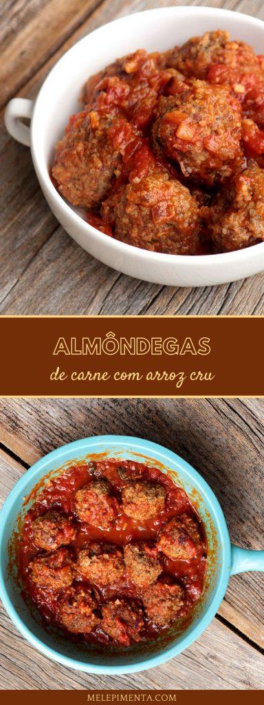 Almôndegas de carne com arroz ao molho de tomate - Uma receita diferente e deliciosa para você variar o cardápio do dia a dia.