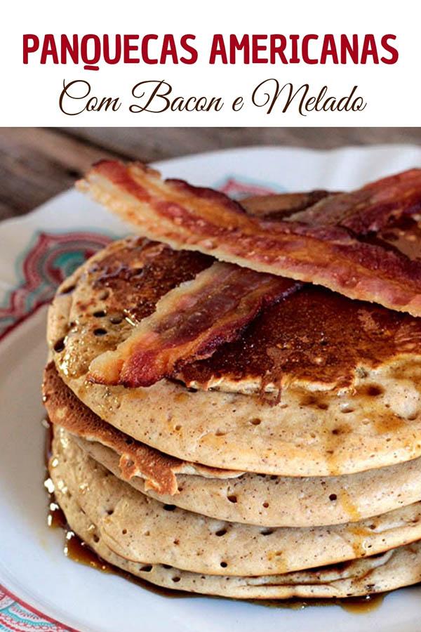 Panquecas americanas com melado e bacon - Receita de panquecas americanas com canela, cobertas por melado e com bacon crocante. Prepare essas panquecas para um café da manhã demorado e delicioso. Surpreenda-se com essa combinação.