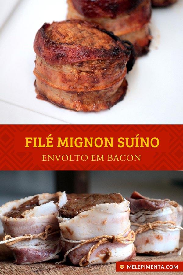 Filé mignon suíno envolto em bacon Uma receita deliciosa e fácil de fazer de filezinho de porco enrolado em bacon. Uma receita perfeita para o fim de semana ou para aquele almoço em família no dia a dia. A receita pode ser feita na aifryer ou assada.