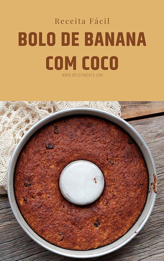 Bolo de banana com coco - Amanteigado e delicioso – Uma receita de bolo de banana perfeito, fácil de fazer e delicioso. Esse bolo leva coco e passas de uvas, cranberries ou da fruta seca que você desejar. Faça esse bolo delicioso na sua casa.