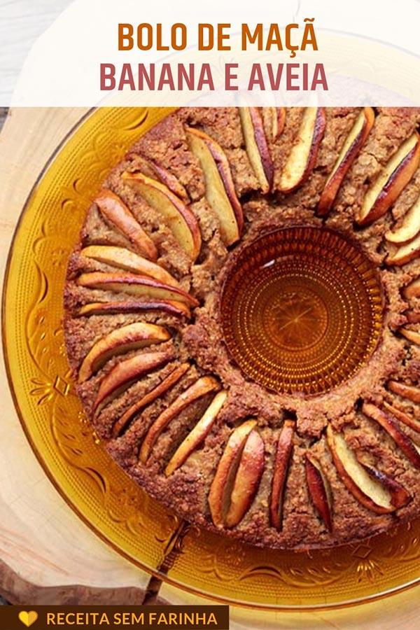 Bolo de maçã com banana e aveia - Sem farinha – Receita de um bolo saudável, delicioso, rico em fibras e nutrientes. Essa receita leva maçã, banana e aveia, o bolo é sem glúten, mas muito saboroso e com uma ótima textura. Faça esse bolo fácil na sua casa.