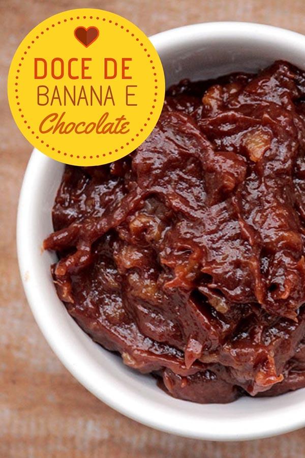 Doce de banana com chocolate meio amargo – Receita de um delicioso creme de banana, perfeito para servir com pães, bolos e também para ser servido puro, como doce. Faça essa receita deliciosa em casa.
