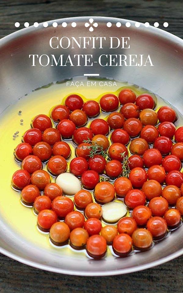 Aprenda como fazer tomate cereja confit em casa. Uma receita fácil, com poucos ingredientes simplesmente deliciosa. Confira a receita! Tomates-cereja com azeite de oliva, ervas e alho. Um prato delicioso para acompanhar carnes, purês e para servir com pães e queijos.