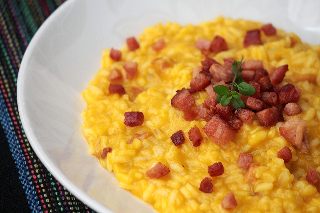 Risoto de abóbora com bacon