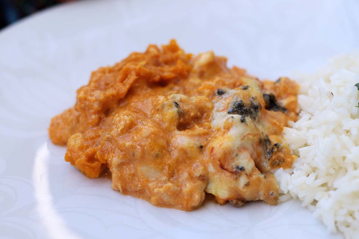 Abóbora recheada com frango e gorgonzola